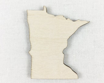 Minnesota Wood Shape, Unfinished Wood Minnesota Laser Cut Shape, DIY Craft Supply, Many Size Options