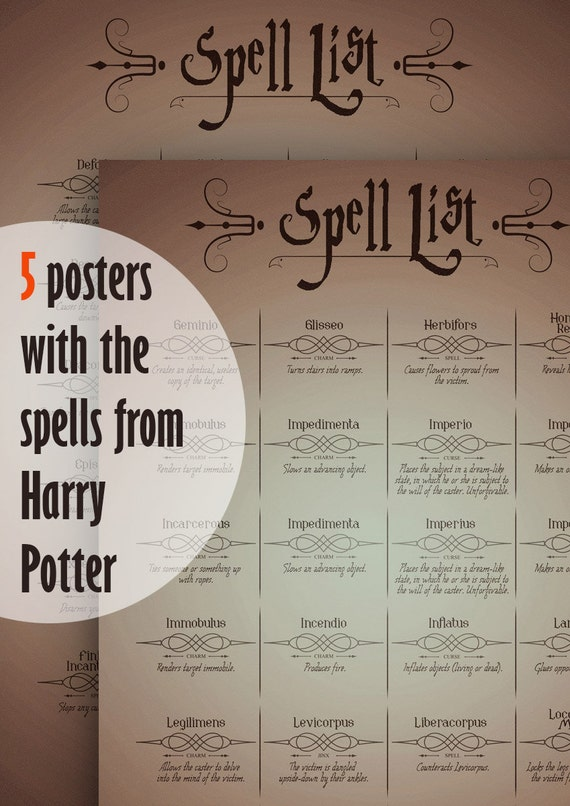 Slobbery image pertaining to harry potter spells list printable