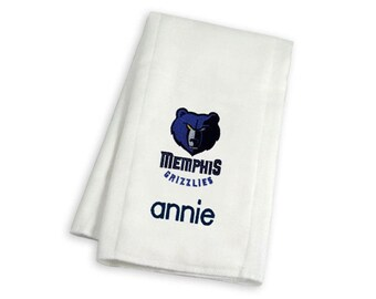 Personalized Memphis Grizzlies Baby Burp Cloth