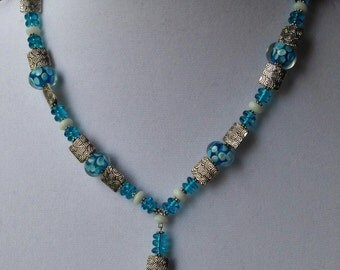 Lamp-work Aqua Blue Glass and Silver Beaded Necklace