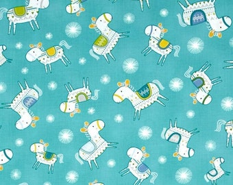 "Dena Designs   FreeSpirit ""Happi Horses""  Toss Turquoise Cotton Fabric"