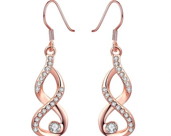 Rose Gold Plated Infinity Drop Earrings