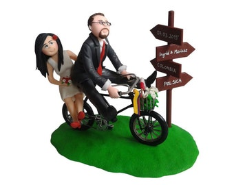 Custom Handmade Wedding Cake Topper, bike wedding cake topper