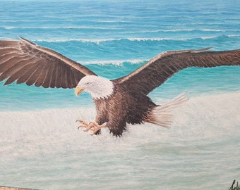OİLPAİNTİNG, Eagle, artwork ,wildlife, painting,orginal, FREE SHİPS