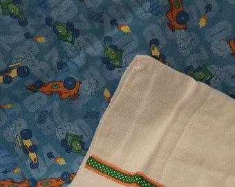 SALE! Flannel Baby Blanket and Burp Cloth Gift Set
