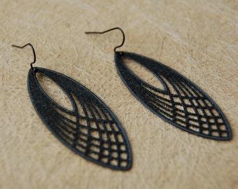 Earrings black ellipse