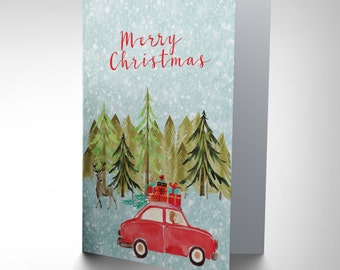 Christmas Card - Driving Home Deer Forest Xmas Gift  CP3061