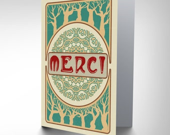 Card Greeting Thanks Merci Art Nouveau Style Gift CP3047