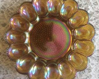 Indiana Carnival glass Deviled Egg Platter