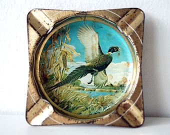 Vintage Ashtray with Bird Illustration