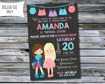 Fashion Show Invitation / Dress Up Birthday Invitation / Fashion Invitation (Personalized) Digital Printable File