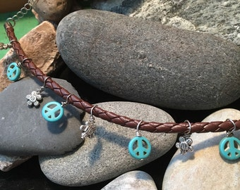 Leather Braided Ankle Bracelet with Peace Signs & Flowers