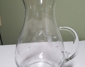 Beautiful Vintage Pitcher etched flowers