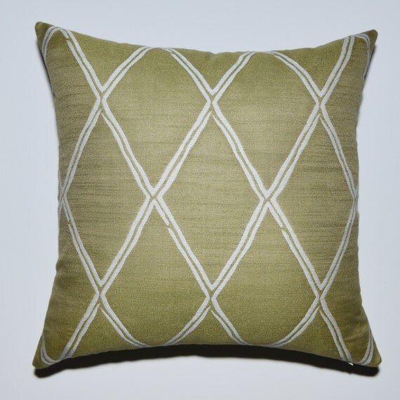 Decorative Pillow Cover Sage Green Off White Woven