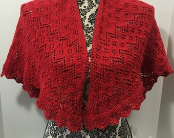 hand-knit shawlette in red cotton with red metallic threads
