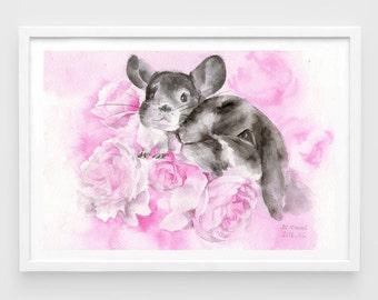 "Original watercolor,bunny and chinchilla,friendship,love,pet painting,7""x10"",home decor"