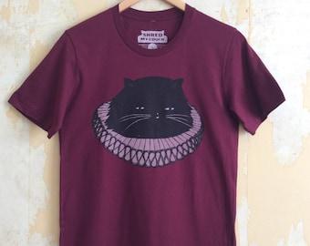 Elizabethan Cat - Unisex Fit T-Shirt, 100% Cotton Maroon Cat T-Shirt