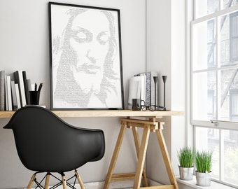 Jesus Christ,Jesus Portrait,Jesus Illustration,Christian Printable,Jesus Printable,Scriptures,Bible Verses,God,Inspirational print,Psalm