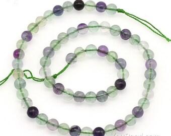 Rainbow fluorite beads, 6mm round, green purple gemstone beads, fluorite round beads, multi color crystal quartz stone beads, FLR2020