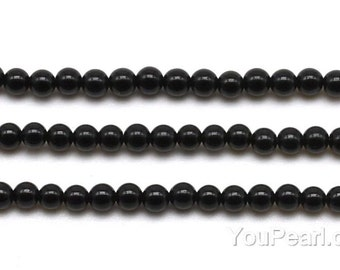 Black agate beads, 3mm round, black beads, round beads, A grade small agate stone, natural genuine gemstone beads, full strand, ONX2007