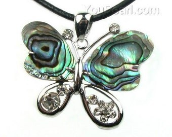 Abalone shell pendant, butterfly shell pendant, paua shell leather cord necklace, abalone butterfly necklace, beach jewelry, SH1550-AP
