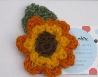 Crochet Sunflower for Michael Brooch #7