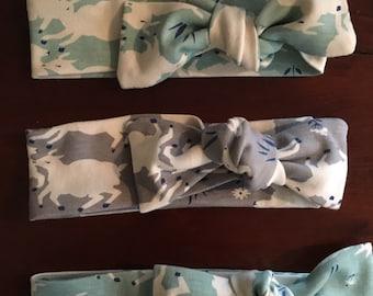 Blue Lamb Headband, Gray Lamb Baby Headband, Sheep Headband, Sheep Bow, Blue Bow