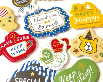 50% OFF CLEARANCE SALE - 60pcs Flake Stickers - Photo Decoration Stickers - 6pcs x 10 Designs (was 3.50)