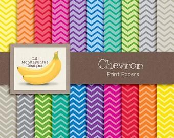Chevron Digital Paper Pack, Rainbow