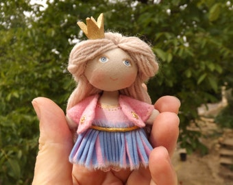Doll Princess,. doll OOAK doll collection, gift for her, of cloth doll, doll miniature, art doll.