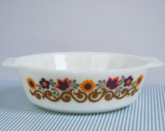 JAJ Pyrex casserole dish, vintage pyrex dish, Briarwood print, flower print, size 513, brown, yellow, green