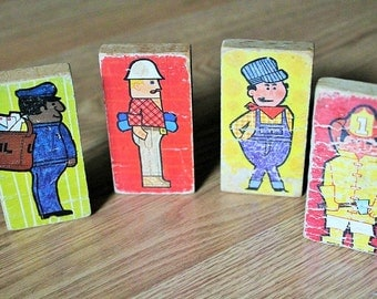 Antique Wooden Picture Blocks-Vintage picture blocks-Childrens Blocks-Fireman,Mailman,construction, and farmer-wooden toys