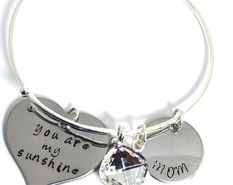 You are my sunshine with Custom Name Bangle Bracelet