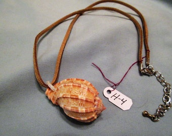 Natural, leather, beads. Shell necklace.