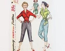 40s Blouse & Pedal Pushers Pattern Simplicity 4255 Misses Shirt Pants Pattern   40s Sewing Pattern