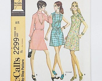 70s Day Dress Pattern | McCalls 2299 Misses Shift Dress Pattern | 70s Sewing Pattern