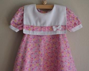 Vintage Pink Floral Print Bib Front Dress, Size 18 Months - Vintage Baby Clothes - Dress for Baby - Dress for Toddler - Vintage Baby Dress