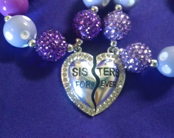 Sisters Forever Toddler Bubblegum Necklace.  Completely Customizable Sister Gumball Necklace