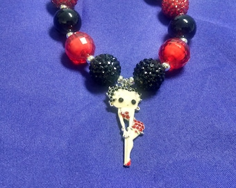 Betty Boop Bubblegum Necklace.  Adult size Gumball Necklace