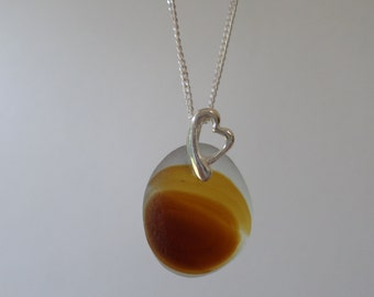 Amber and Brown End of Day Sea Glass Necklace