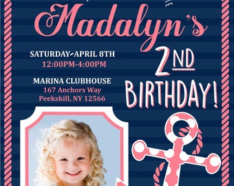 Sail On Over Birthday Invitation DIY Digital File ONLY