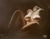 Nude Woman Painting Oil 35*45 cm brown. Nude Art. Erotic