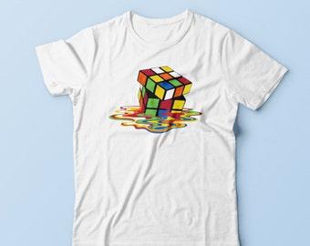 Melting Rubics Cube Shirt- Big Bang Inspired