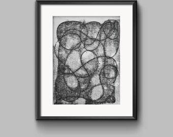 """Monotype Print 5/11 """"Grey Area"""" Series"""