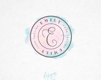 Premade  Logo, Elegant Logo, Circle Logo, Pink Logo, Business Logo, Fashion Logo, Stylish Logo, Photography Logo, Watercolor Logo