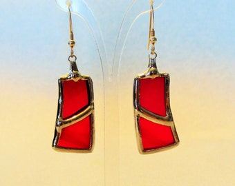 Earrings made by hand - stained glass -.