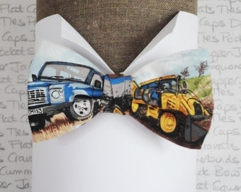 Boys Bow Tie, Bow ties for boys, Digger and Land Rover print bow tie
