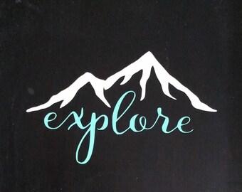 Explore Mountain Vinyl Decal