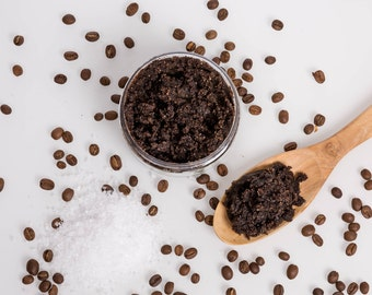 Kalahari desert salt & coffee body scrub, body polish, coffee body scrub, salt body scrub, exfoliating scrub