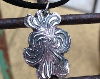 Imprinted Fine Silver Pendant, Hand Made Original Design